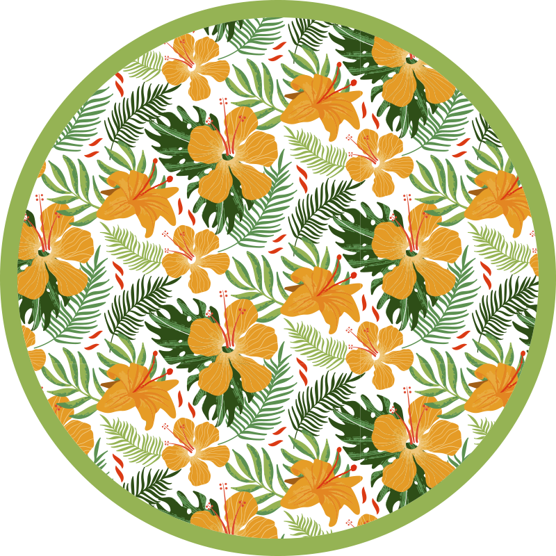 TenStickers. Tropical leaves and flowers vinyl rug. This wonderful jungle vinyl rug design features various jungles leaves covered by brightly coloured orange flowers. Extremely long-lasting material.
