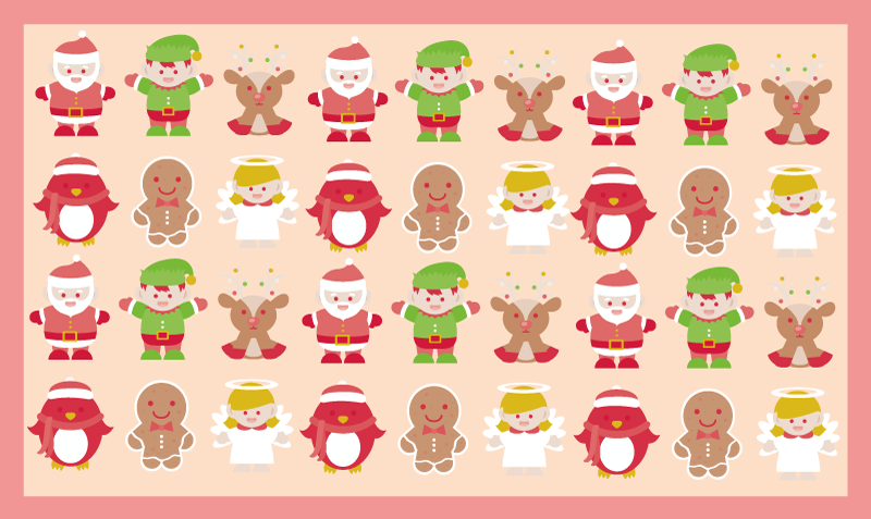 TenStickers. 卡通驯鹿和精灵圣诞地毯. 圣诞乙烯基地毯,具有各种以圣诞节为主题的卡通图像的图案。极其持久的材料。