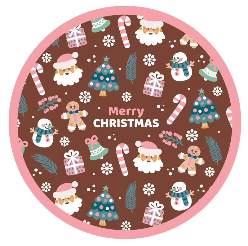 TenStickers. Decorative Merry Christmas Christmas rug. Decorative merry christmas vinyl rug featured with different christmas elements. It is durable, original and  very long lasting.