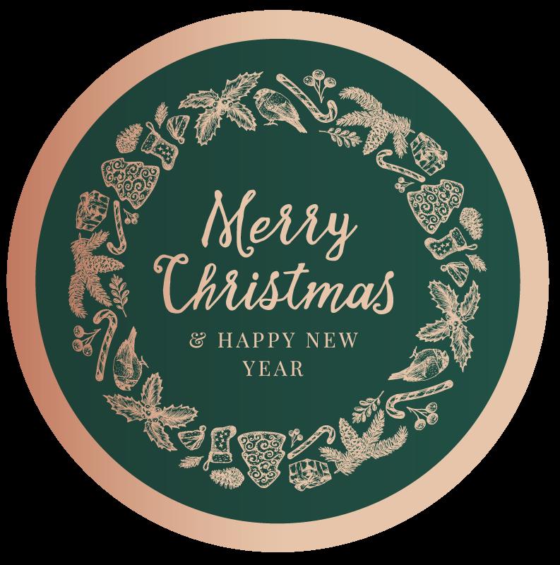 """TenStickers. Feliz natal e feliz ano novo tapete de natal. Tapete de vinil de natal com alguns elementos de natal e um texto central que diz """"feliz natal"""" em um fundo verde."""