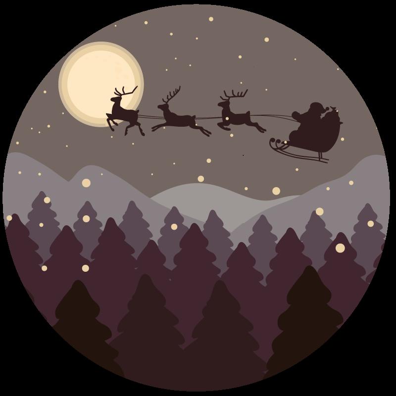 TenStickers. Kersttapijt met kerstman en slee. Deze prachtige entree hal kerstman en slee vinyl tapijt is precies waar u teveel tijd naar op zoek was!