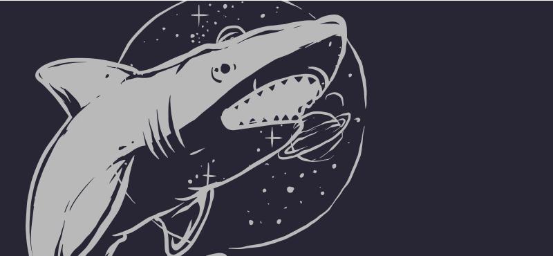 TenStickers. Rechin pește sălbatic ilustrare animal mat. Un dormitor adecvat pentru pardoseli laminate, cu o ilustrație pește pe un fundal albastru. Este antiderapant și foarte durabil.