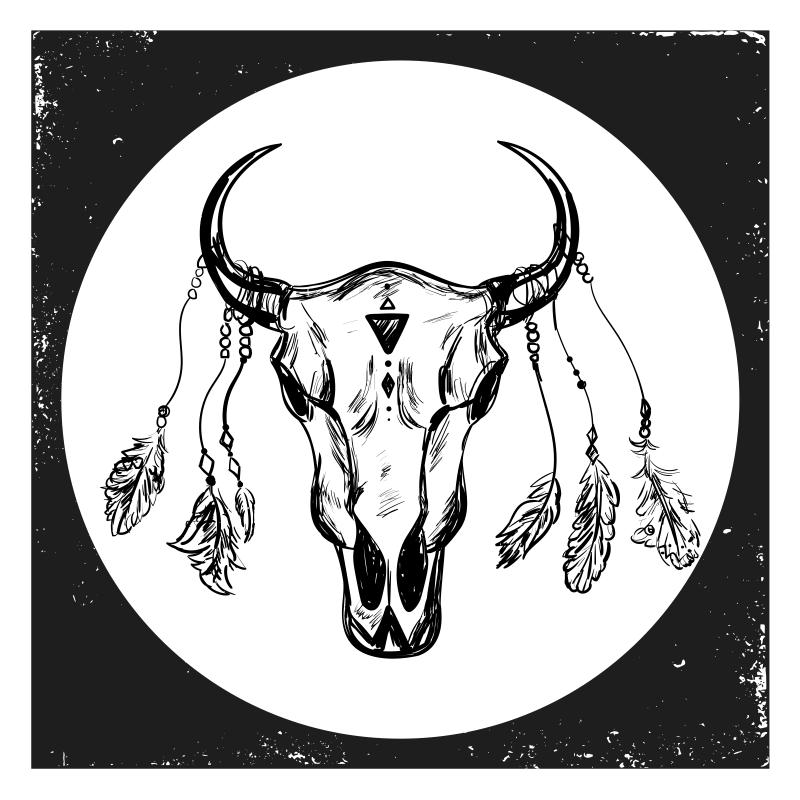 TenStickers. Covoare boho craniu compoziție stil etnic. Covor uimitor din vinil pătrat conceput cu un boho de vacă craniană pe fundal alb-negru. Covorul original din vinil este disponibil în diferite dimensiuni.