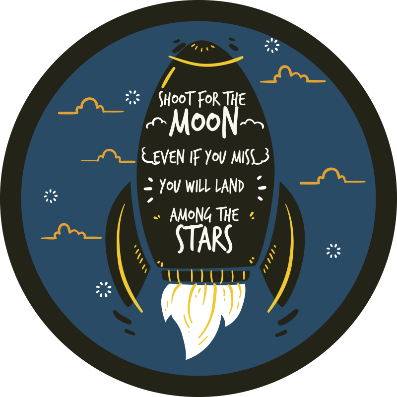 TenStickers. Shoot for the moon bespoke rugs. Circular vinyl carpet with space planet quote. Super lovely carpet for any floor space in a house. Contains space element drawings and quote.