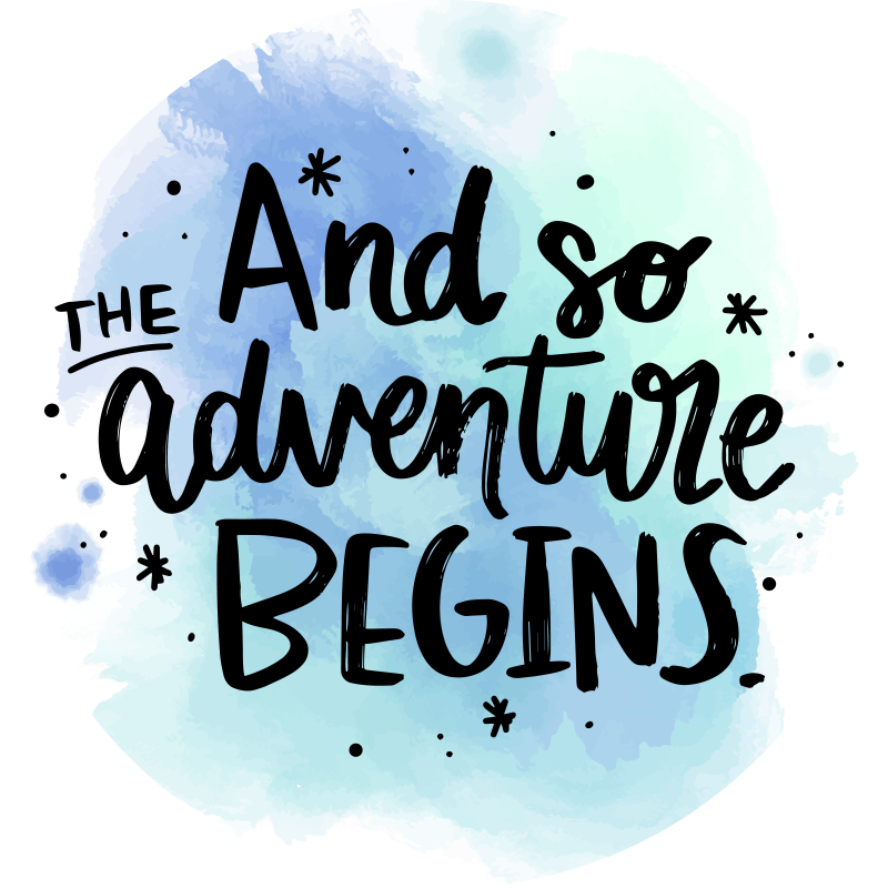 TenStickers. Adventure begins bespoke rugs. Beautiful vinyl carpet with text and so the adventure begins in super colors.  Add the right size, put this item in your shopping cart and have fun.