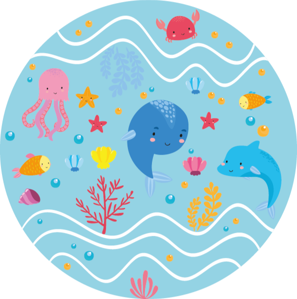 TenStickers. Fun sea animals animal mat. Happy and fun animal vinyl carpet that would be appealing and admired by kids. It design depicts the sea with jelly fish, dolphins, star fish, etc.