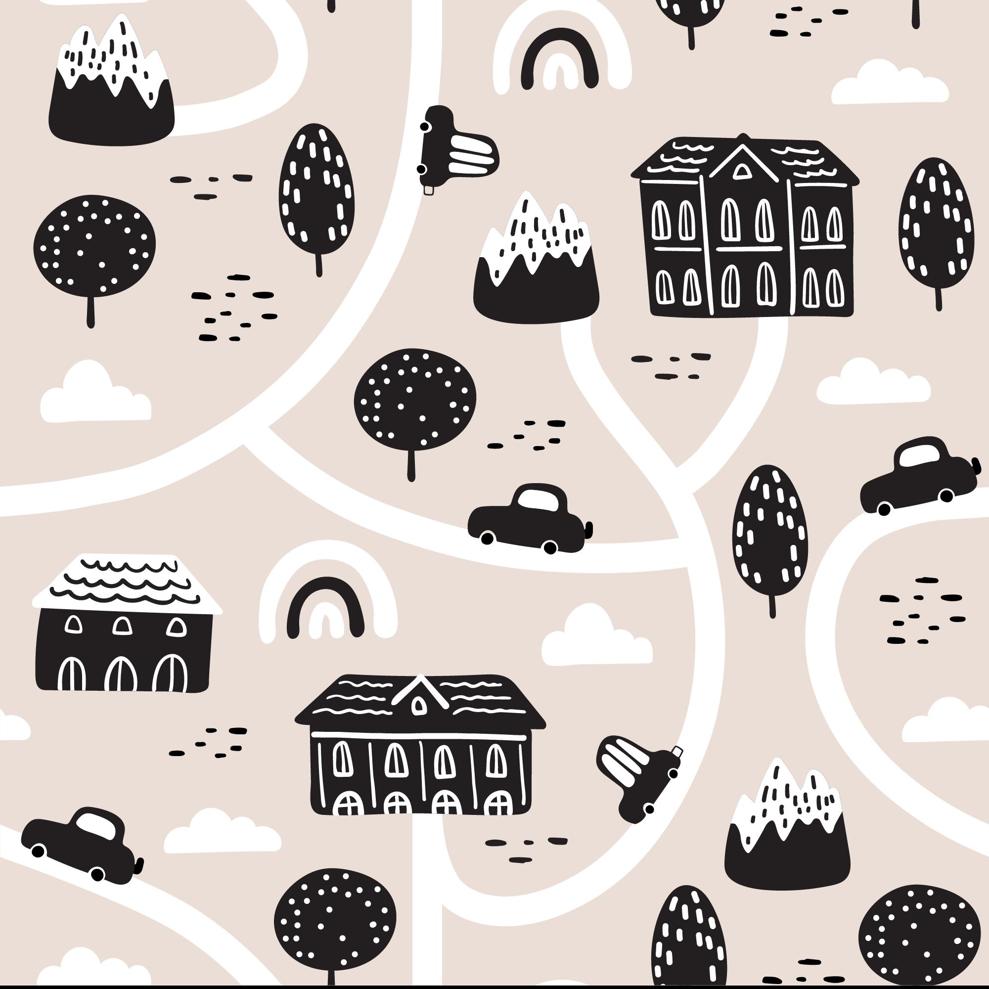 TenStickers. Czarno-biały dywan Mapa miasteczka. Specjalny projekt dywanu winylowego do sypialni. Czarno-białe ilustracje projektu przedstawiające dom, drogi itp.