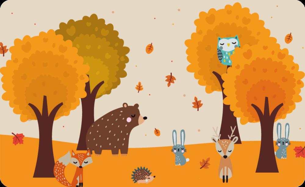 TenStickers. Dywan winylowy Zwierzęta jesienią. Zmywalny i łatwy w utrzymaniu dywan winylowy nadający się tylko do przestrzeni dziecięcej. Jest wyposażony w projekty drzew i zwierząt pod drzewami.