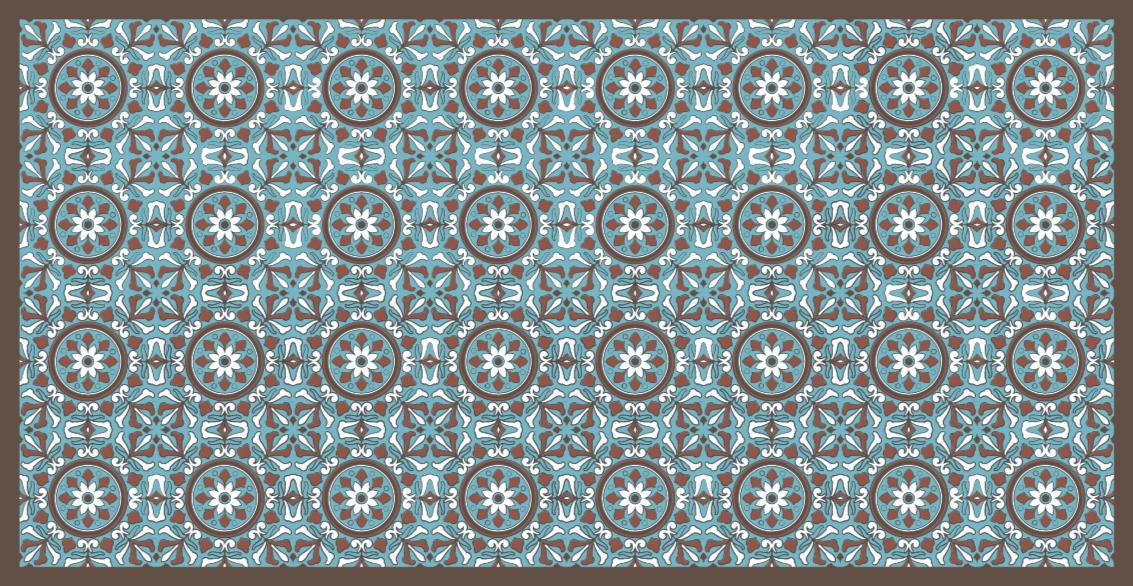 TenStickers. tapis vinyl carreaux de ciment Turquoise arabe. Ce superbe revêtement de sol en sticker pour cuisine représente la meilleure solution pour apporter dans votre maison quelque chose de vraiment unique et beau!