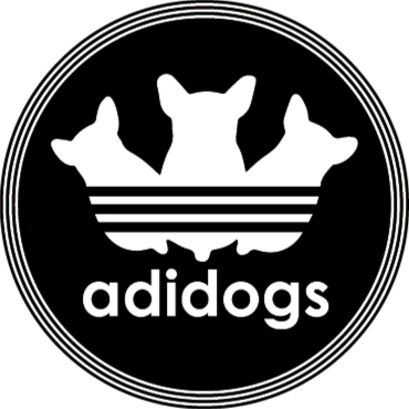 """TenStickers. Adidogs animal mat. Acest fabulos design de covor de vinil animal se inspiră din marca adidas, schimbându-l în loc de """"adidogs""""! Alege marimea ta."""