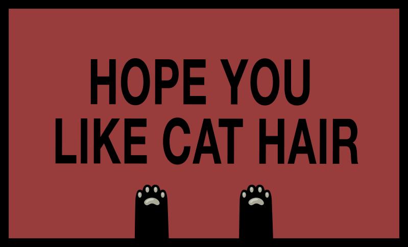"""TenStickers. Dywan winylowy Mam nadzieję, że lubisz kocią sierść. Ten dywan wejściowy zawiera tekst """"mam nadzieję, że lubisz sierść kota"""" na ciemnoczerwonym tle. Bardzo trwała, odporny na zabrudzenia i wodoodporny."""