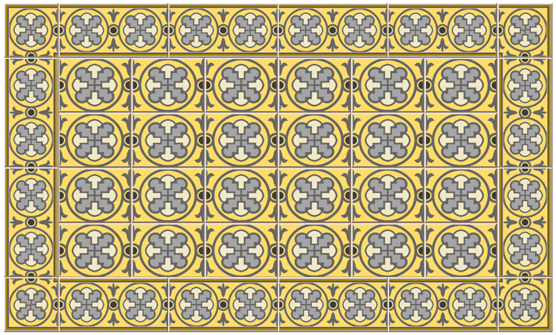 TenStickers. Vinyl rug kitchen gray tones and yellow  tile mat. This beautiful kitchen vinyl flooring will look spectacular in your living room and add color and life to decorating your favorite spaces