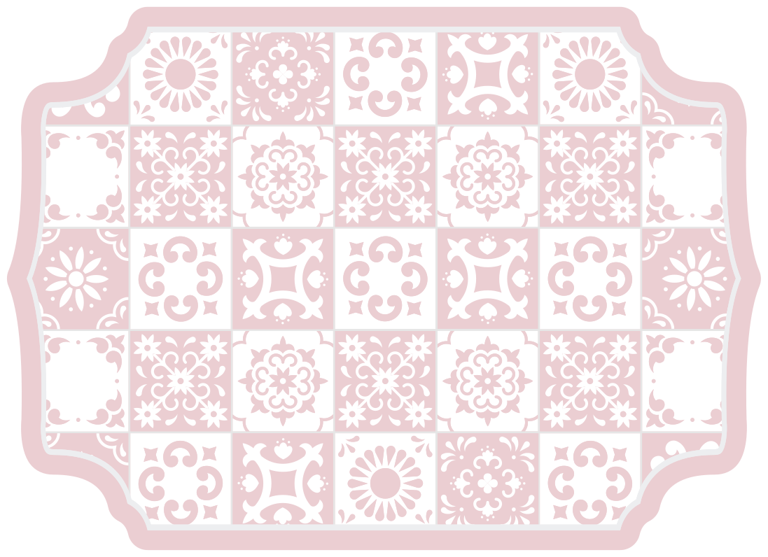 TenStickers. tile motif with flowers tile mat. Fantastic Vinyl rug supertile motif with flowers patterns, which can be mounted inexpensively in stickers for your living room.