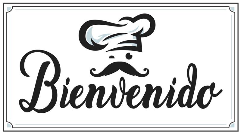 """TenStickers. 乙烯基地毯厨房欢迎定制地毯. 意大利厨师的贴纸中完美的入口垫!这些奇妙的贴纸带有意大利厨师设计的"""" bienvinido""""文字。"""