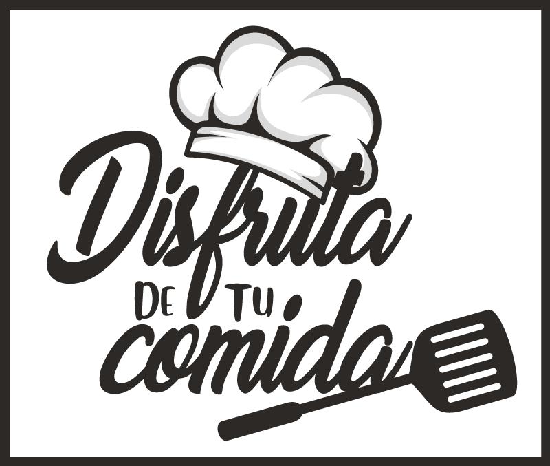 """TenVinilo. Alfombra vinilo cocina disfruta de tu comida. Alfombra vinilo cocina para el suelo  con un diseño con gorro de chef y utensilios de cocina con frase """"disfruta de tu comida"""" ¡Compra online!"""