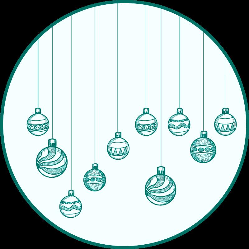 TenStickers. χριστουγεννιάτικα στολίδια χαλί χριστουγεννιάτικο. λευκό χαλί βινυλίου με στολίδια, ιδανικό για τη διακόσμηση του υπνοδωματίου σας ή άλλων χώρων. εύκολο να καθαριστεί και να αποθηκευτεί. κατασκευασμένο από υψηλής ποιότητας βινύλιο.