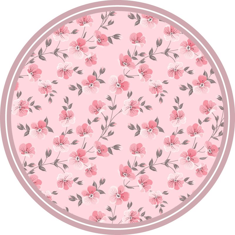 TenStickers. Pink Flower Petals flower rug. Lovely and peaceful vinyl Capet for home. Modern vinyl carpet with pink petals design prints. An original and durable, and easy to clean carpet.