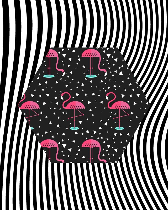 TenVinilo. Alfombra vinilo animales flamencos y cebras. Una alfombra de vinilo para salón con rayas de cebra y flamencos. Elige las medidas que desees ¡Descuentos disponibles!