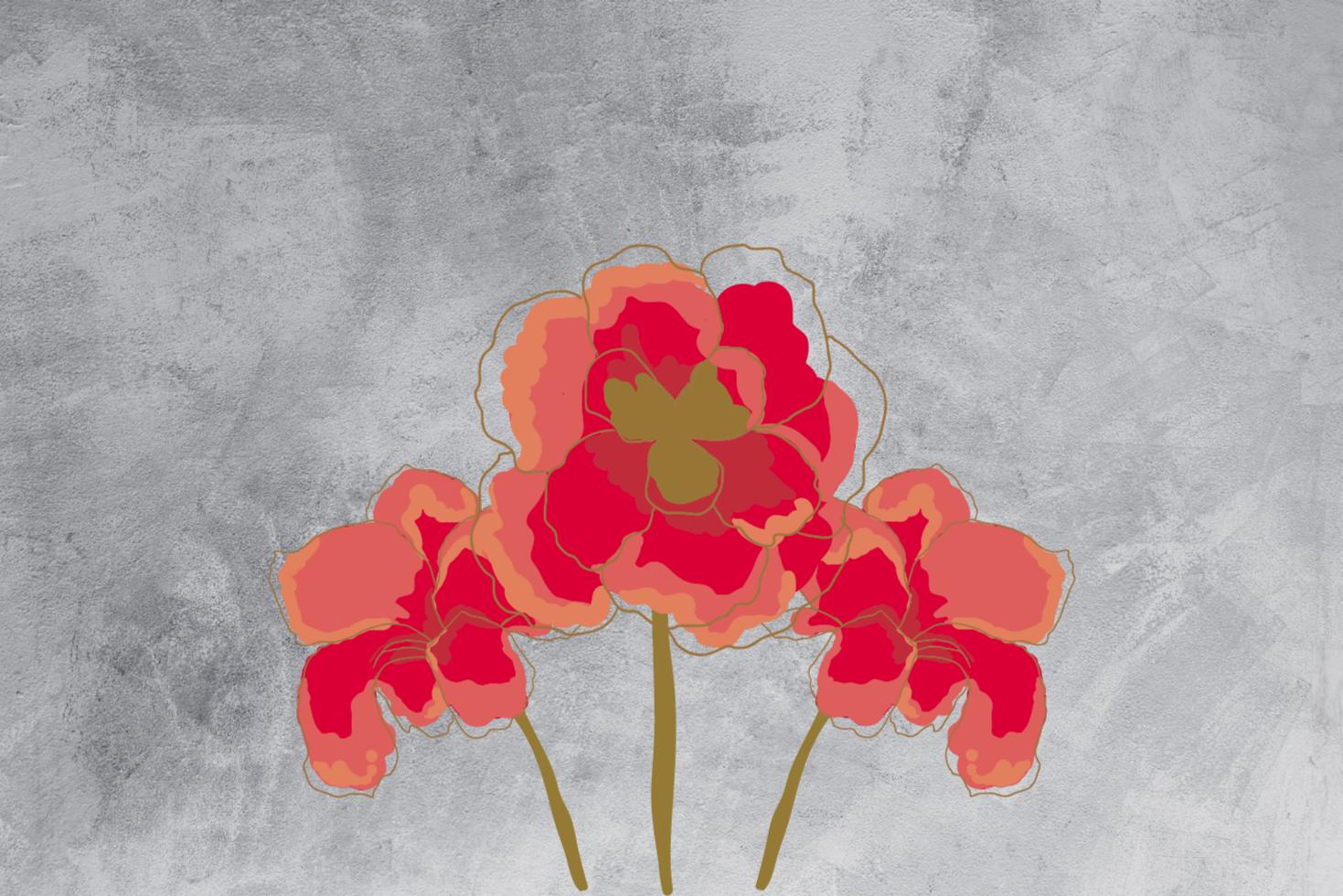 TenVinilo. Alfombra vinílica gris con amapola dibujada. Alfombra vinílica de flores con amapola ideal para tu salón. Fabricado en material de alta calidad ¡Descuentos disponibles!
