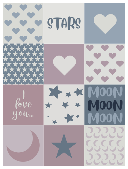 TenStickers. Sweet words bespoke rugs. Bedroom vinyl carpet for home decoration. The design contains space elements in square shapes and it is really easy to maintain and anti-slippery.