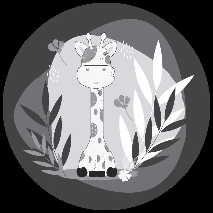TenVinilo. Alfombra vinilo gris bebé jirafa bonito. Adorable alfombra vinilo redonda ideal para la habitación de un niño. Diseño floral con una jirafa adorable en tonos grises ¡Envío express!