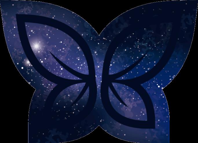 TenStickers. Dywan winylowy Motyl galaxy. Kształt motyla z winylowym dywanem galaxy do wejścia i innych wnętrz w domu. Jest oryginalny i bardzo łatwy w utrzymaniu.