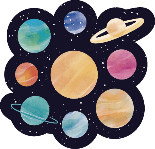 TenStickers. Different planets kids vinyl carpet. Irregular shape vinyl carpet with design of different space planet illustrations. It is original and really easy to maintain.