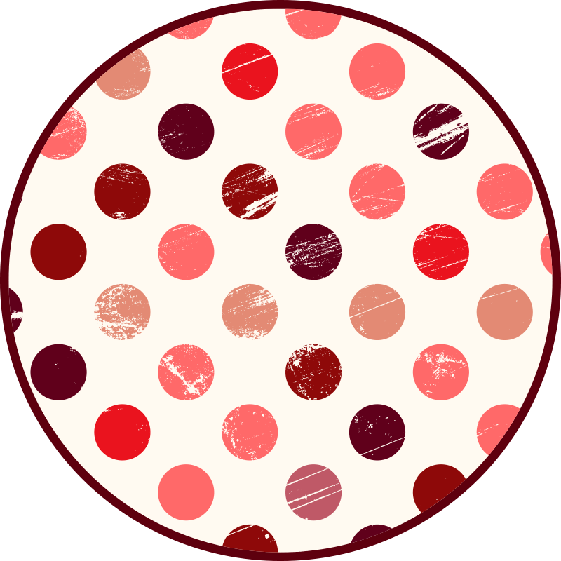 TenStickers. Shades of red dots geometric vinyl carpets. Geometric pattern vinyl carpet. This carpet would fit for any floor space in a home. Nice for a living room and for other interior areas in a house.