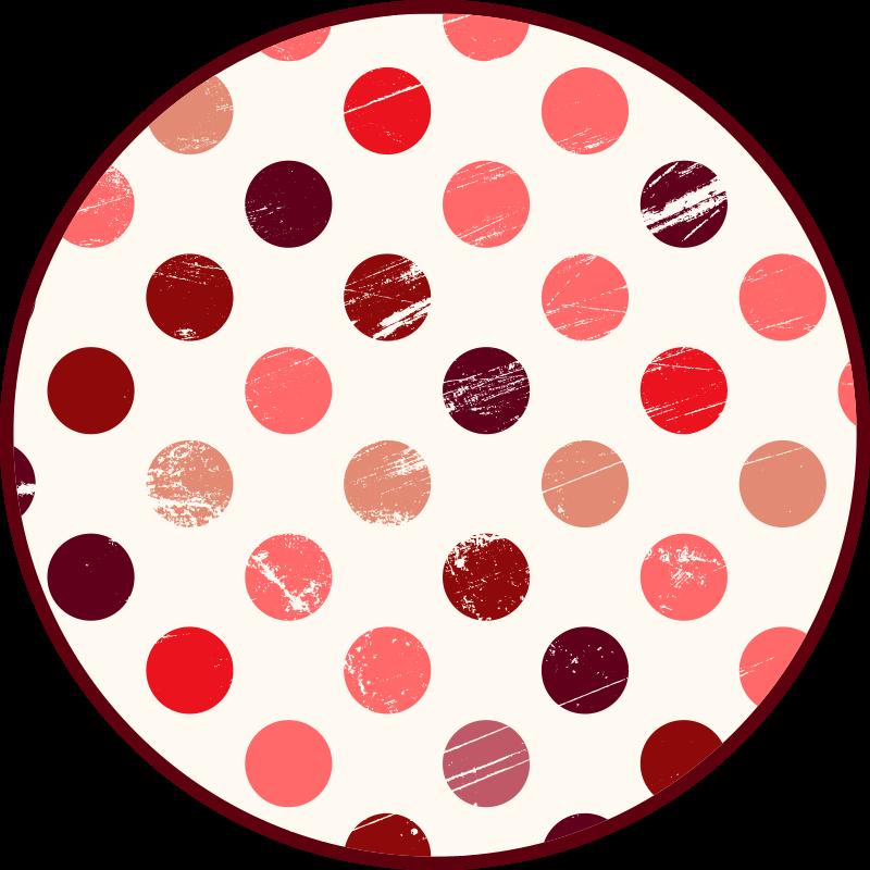 TenVinilo. Alfombra vinilo geométrica puntos rosas. Alfombra vinílica redonda con puntos de tonos rosas para decorar el suelo de tu habitación o salón. Elige medidas ¡Envío express!