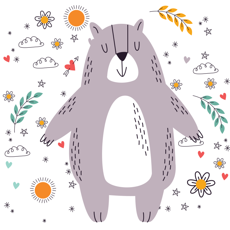 TenStickers. Tapete de animal fofo urso floral. Tapete de vinil bonito perfeito para o quarto de uma criança. Este tapete floral com vinil de urso é o que você precisa para embelezar o espaço do quarto do seu filho.