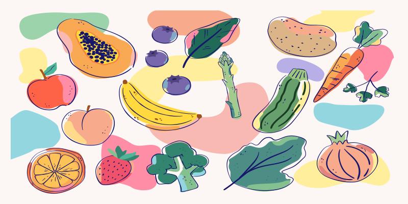 TenVinilo. Alfombra vinílica cocina frutas tonos pastel. Alfombra vinilo cocina blanca con tipos de frutas perfecta para decorar tu casa con un diseño escandinavo original ¡Descuentos disponibles!