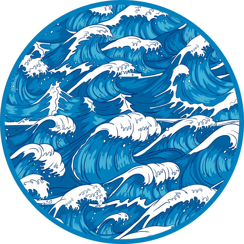 TenStickers. Japanese waves nature vinyl carpet. Round-tip vinyl rug with design depicting wave of the deep blue sea. The design suits well for a living room and other interior spaces in a house.