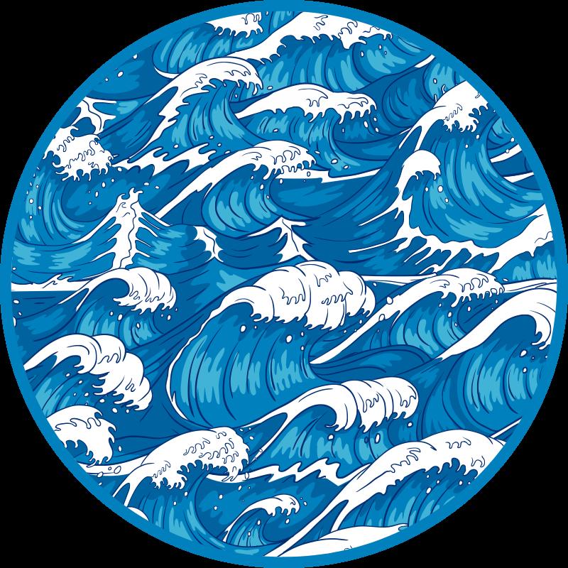 TenVinilo. Alfombra vinilo dormitorio olas japonesas. Alfombra de vinilo para salón o dormitorio con diseño que representa las olas del mar azul profundo. Muy resistente ¡Compra online!