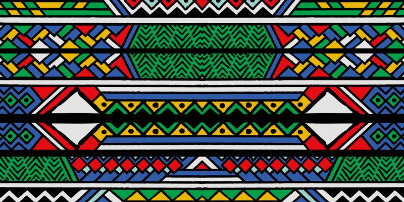 TenStickers. Covoare de culoare primară în stil etnic tribal. Covor colorat din vinil cu design tribal african pentru casă. Frumos pentru o cameră de zi și poate fi amplasat pe alte spații ale unei case. Este ușor de întreținut.