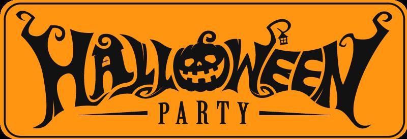 TenStickers. Enge pompoen halloween vinyl tapijt. Een geweldige manier om uw bezoekers te ontvangen voor het halloween feest met dit vinyl tapijt voor halloween feestjes met een pompoen en verschillende figuren.