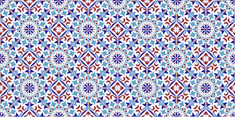TenStickers. γαλάζιο πλακάκι δαπέδου μοτίβο κουζίνας. χαλί από βινύλιο με μπλε πλακάκια, ιδανικό για διακόσμηση κουζίνας. εύκολο να καθαριστεί και να αποθηκευτεί. κατασκευασμένο από υψηλής ποιότητας βινύλιο. Τσέκαρέ το!