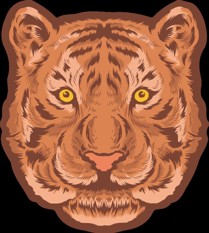 TenVinilo. Alfombra vinilo animales emblema de tigre. Esta alfombra vinilo de animales tigre es perfecta para el dormitorio de un niño. Un diseño de emblema de tigre simplemente increíble para su hogar