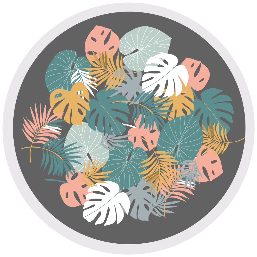 TenStickers. Tropical leaf flower rug. Tropical leaf floral vinyl rug for your home. Change the look of your house with our original round vinyl carpet. Easy to maintain and of quality.