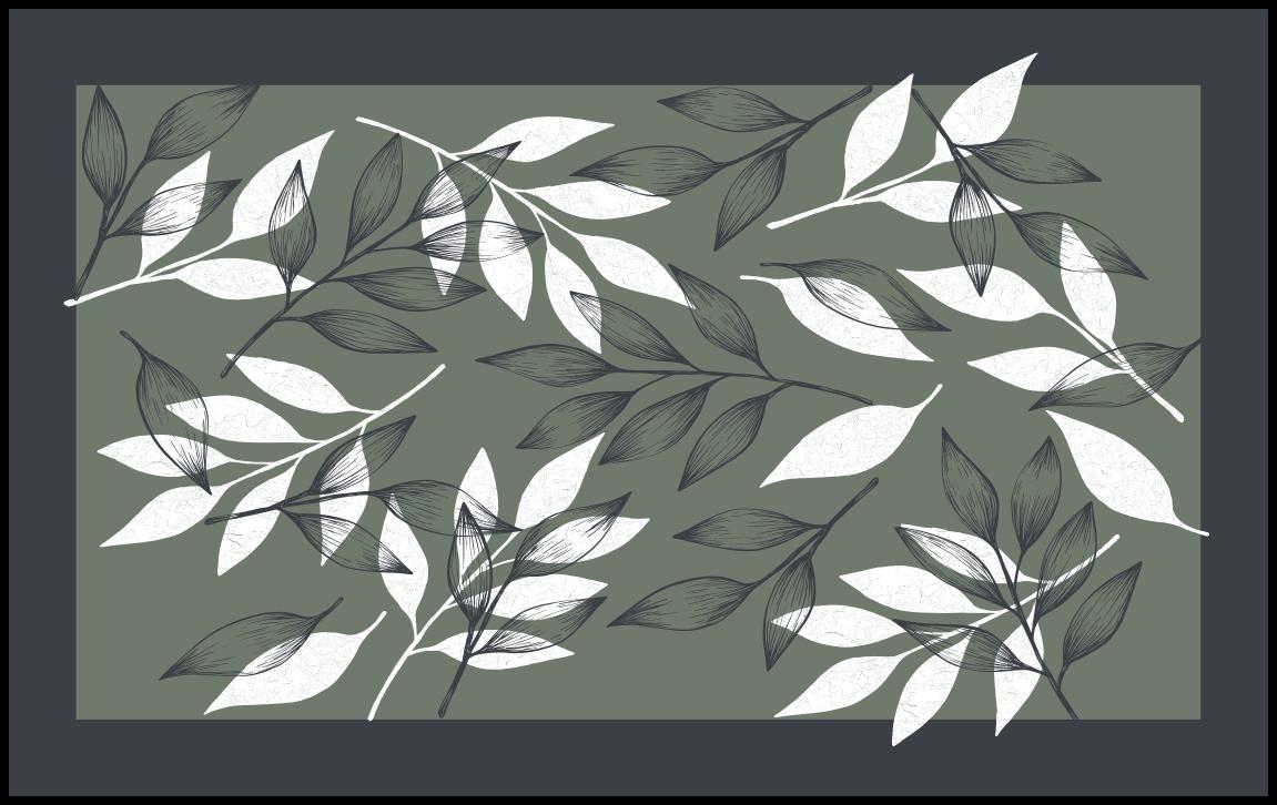 TenStickers. Dywan winylowy w szare liście. Dywan kwiatowy w czarno-białe liście. Zastanów się nad wniesieniem tego niesamowitego dywanu do swojego domu i będziesz zadowolony, że to zrobiłeś.