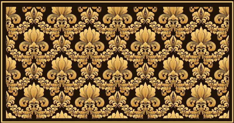 TenStickers. κλασική πολυτέλεια ντεμοντέ πλακάκια damax σύγχρονα χαλιά. ένα μοντέρνο δάπεδο με πολυτελή σχεδίαση σε μαύρο και χρυσό χρώμα που θα ανανεώσει τη διακόσμηση του σπιτιού σας. μηδέν υπόλειμμα κατά την αφαίρεση.