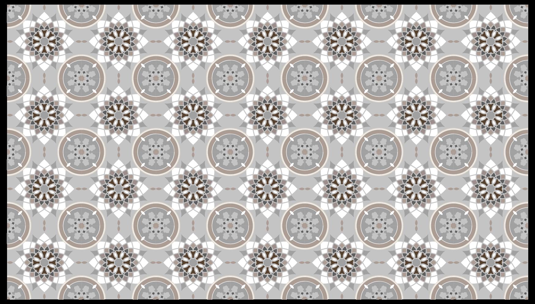 TenStickers. Dywan winylowy Szare płytki podłogowe. Szary i biały dywan wyłożony kafelkami z ilustracją kwiatową może być idealnym wyborem dla Ciebie w sypialni lub w dowolnym miejscu w domu.