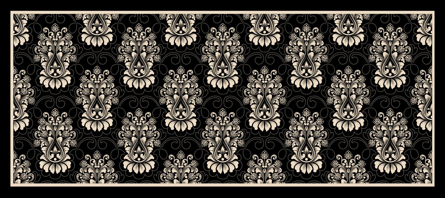TenStickers. Damask διακοσμητικά πλακάκια σύγχρονα χαλιά. αυθεντικό χαλί από βινύλιο σε μαύρο χρώμα σε διάφορα χρώματα που μπορούν να δώσουν μια πινελιά κομψότητας στο σαλόνι σας. διατίθεται σε 50 χρώματα.