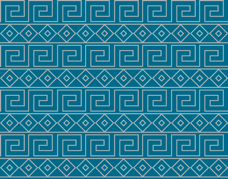 TenStickers. Greek key pattern ethnic style rugs. Greek key pattern ethnic vinyl rug for any floor space in the home. It can be placed on a bathroom space, entrance and any other interior area.