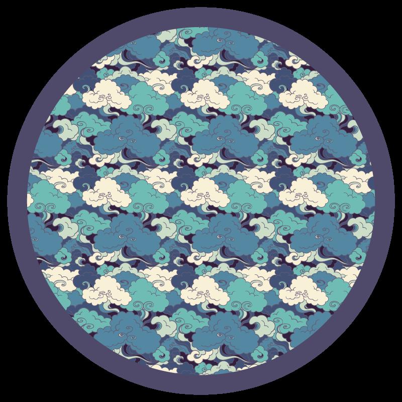 TenStickers. Covor japonez de valuri și nori. Covor rotund din vinil, care prezintă un model uimitor de valuri și nori, care au fost desenate într-un stil tradițional de artă japoneză.
