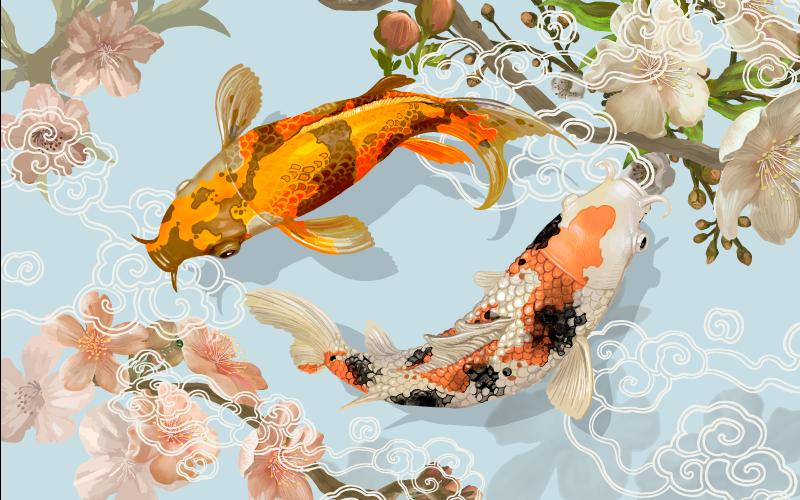 TENSTICKERS. 美しい日本の鯉のビニールの敷物. 2匹の鯉が泳いでいる姿が素敵なフィッシュビニールラグ。 +10,000人の満足した顧客。