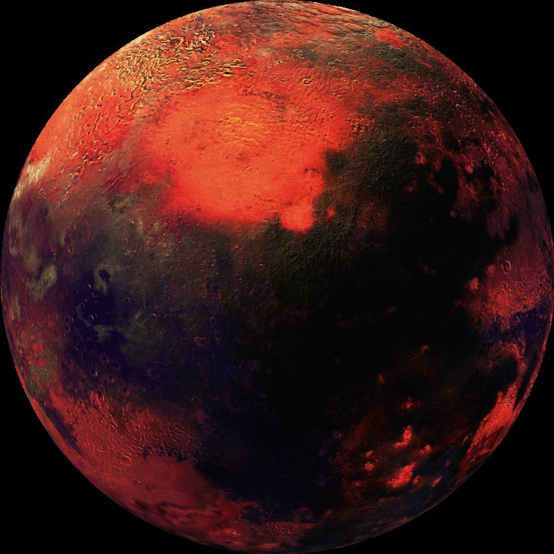 TenVinilo. Alfombra vinílica redonda planeta rojo. Alfombra vinilo habitación juvenil con temática espacial que presenta una imagen detallada de un planeta rojo ¡Envío exprés!