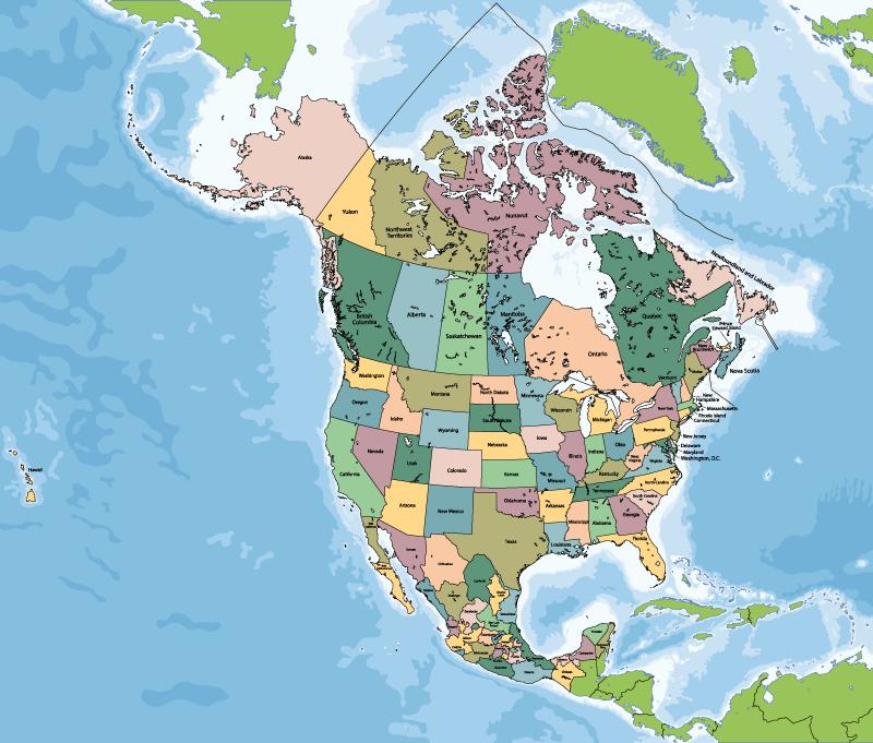 TenVinilo. Alfombra vinílica mapmundi América Norte. Una colorida alfombra de vinilo para salón mapamundi con la representación de América del Norte en un mapa físico