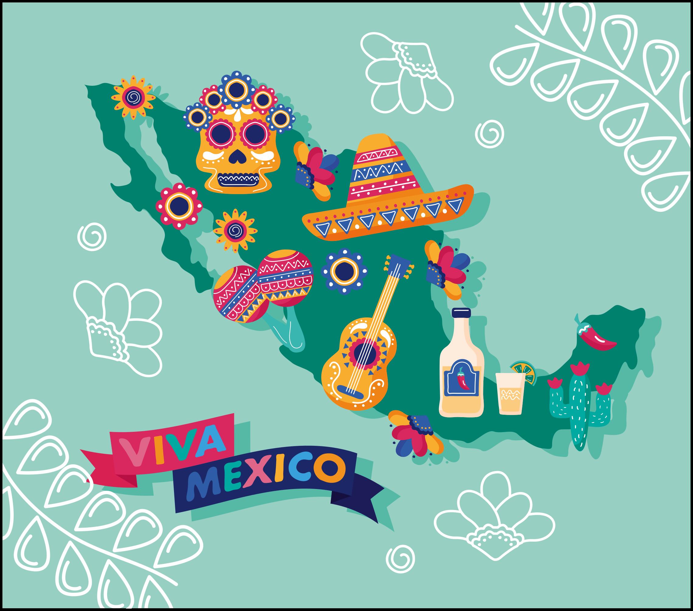 """TenVinilo. Alfombra vinílica mapamundi cultura mexicana. Alfombra vinílica mapamundi de cultura mexicana con tonos turquesas y la frase """"VIVA MÉXICO"""" para tu salón o dormitorio ¡Envío exprés!"""