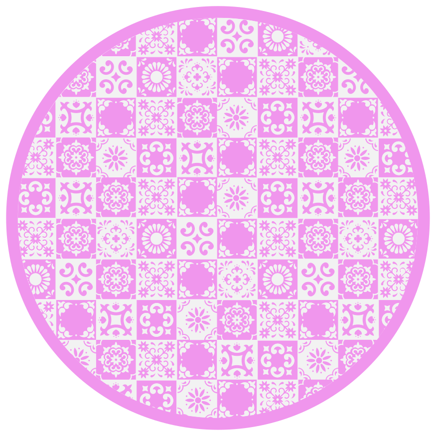 TenVinilo. Alfombra vinilo hidráulica rosa y blanca. Alfombra vinílica  redonda rosa y blanca para decorar cualquier estancia que desees. Producto de alta calidad ¡Envío exprés!