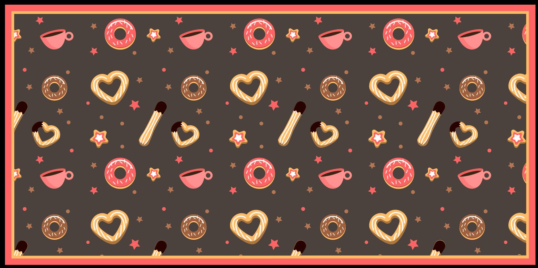 TenStickers. Moderne vinyl tapijt Churros en donuts patroon. Churros en donuts patroon keuken vinyl tapijt. Lovely cookies design vinyl tapijt om uw keuken een interessante en aantrekkelijke look te geven.